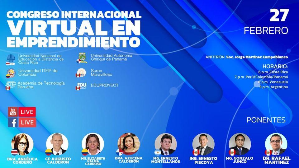 Próximo evento en linea: Congreso Internacional Virtual en Emprendimiento