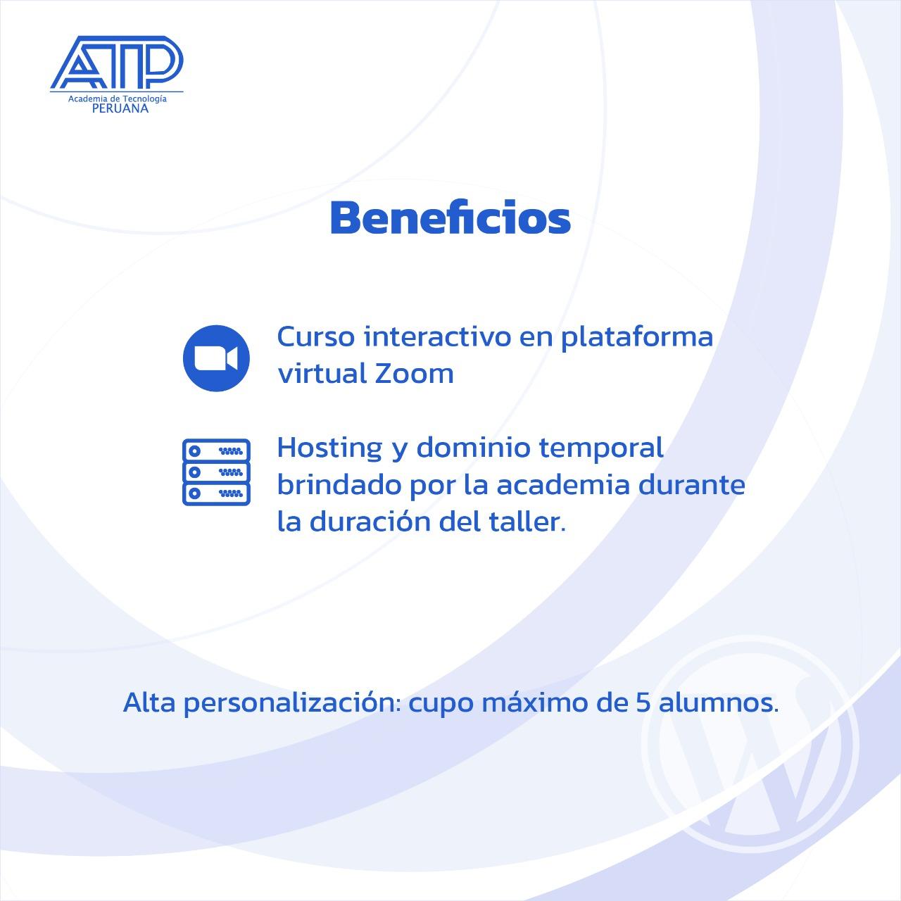 Beneficios de asistir a la vioconferencia de creación de sitios web con WordPress - Academia de Tecnología Peruana